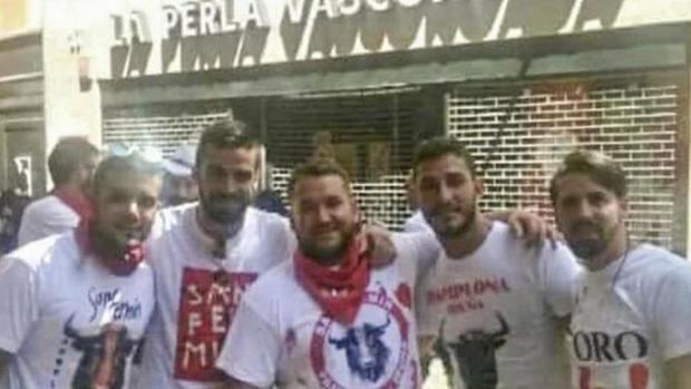 Los miembros de 'La Manada', en Pamplona.