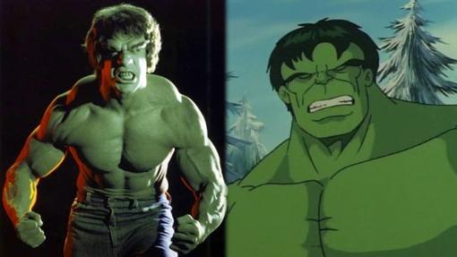 Lou Ferrigno como Hulk y la caricatura de los 90 del gigante verde