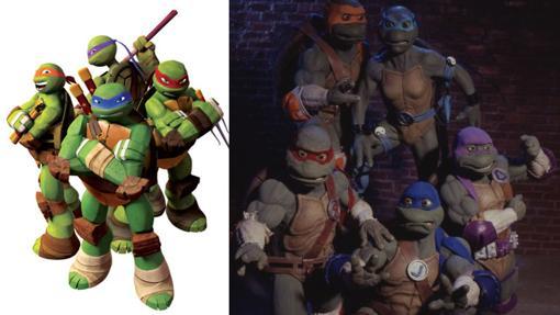 """Muestras de las series de Ninja Turtles. A la izquierda, la serie actual de Nick y a la derecha """"The Next Mutation"""", la serie live-action de las Tortugas"""