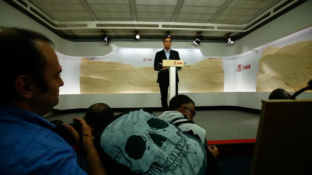 Pedro Sánchez durante su rueda de prensa