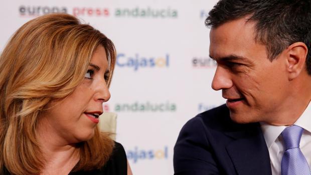 Susana Díaz y Pedro Sánchez, cara a cara el pasado mes de junio durante un encuentro en Sevilla