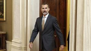 Don Felipe poco antes de recibir en audiencia en el Palacio de La Zarzuela