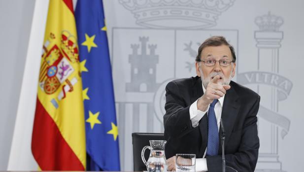 Rueda de prensa de Mariano Rajoy en La Moncloa tras presentarse la moción de censura del PSOE