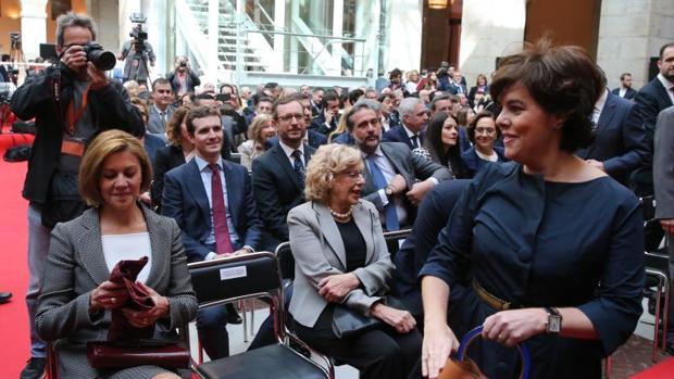 María Dolores de Cospedal, Pablo Casado y Soraya Sáenz de Santamaría, tres de los aspirantes a liderar el PP