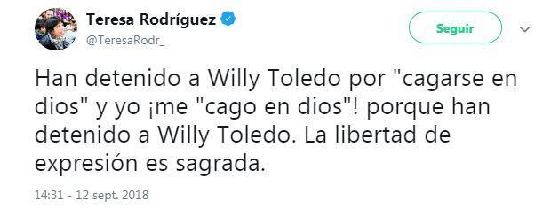 El tuit ofensivo de Teresa Rodríguez-Rubio