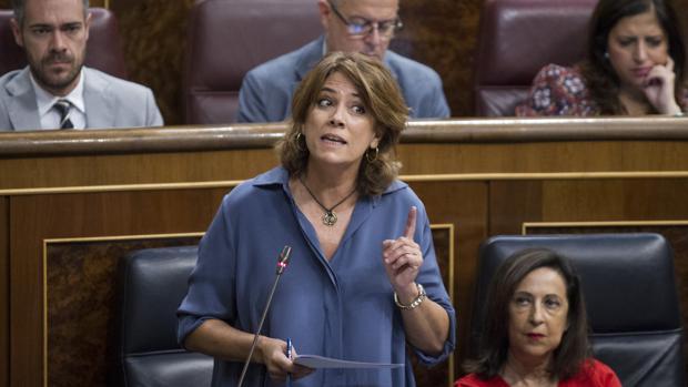 La ministra de Justicia, Dolores Delgado, en el Congreso de los Diputados