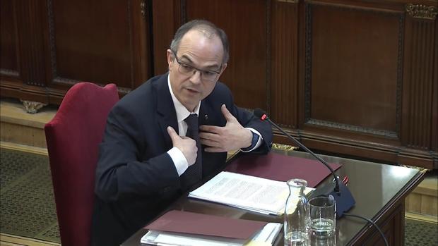Jordi Turull, durante el interrogatorio en el juicio del «procés»