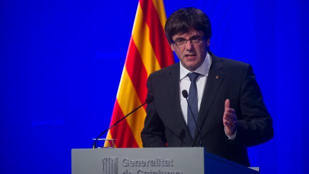 Rueda de prensa después del referéndum del 1 de octubre del expresidente de la Generalitat, Carles Puigdemont