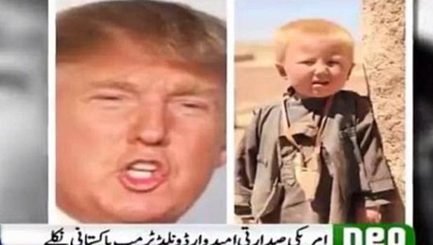 A la derecha de la imagen un niño que Neo News asegura es Donald Trump