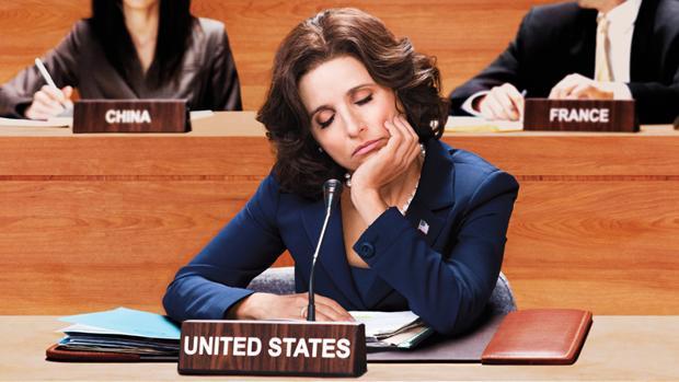 La «Veep» Selina Meyer, dormida durante una reunión internacional