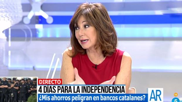 Ana Rosa Quintana, durante el programa de ayer