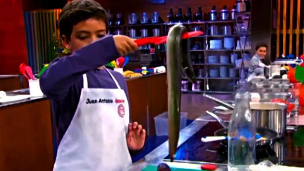 Juan Antonio tuvo que cocinar con una anguila viva
