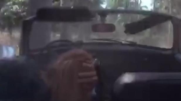 Imagen del accidente durante el rodaje de la escena de «Kill Bill»