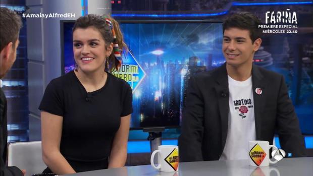 Amaia y Alfred en un momento de su entrevista con Pablo Motos en El Hormiguero