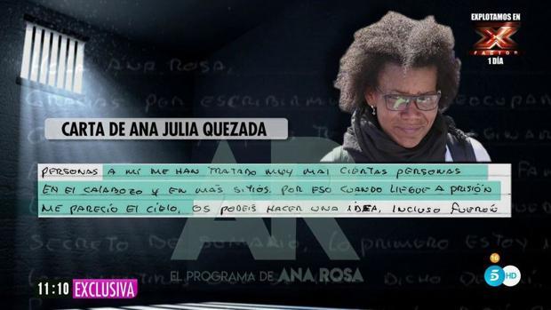 Ana Rosa Quintana lee la carta de Ana Julia Quezada