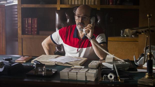 Javier Cámara, durante el rodaje de «Narcos»