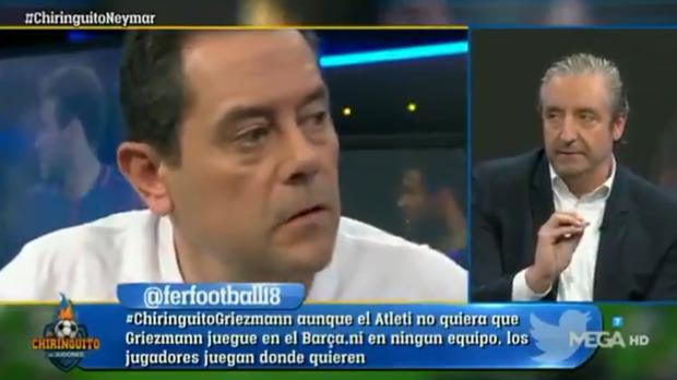 Momento del enfrentamiento de Tomás Roncero con Josep Pedrerol en «El chiringuito»