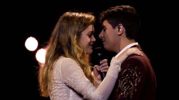 Amaia y Alffred, durante un ensayo de Eurovisión