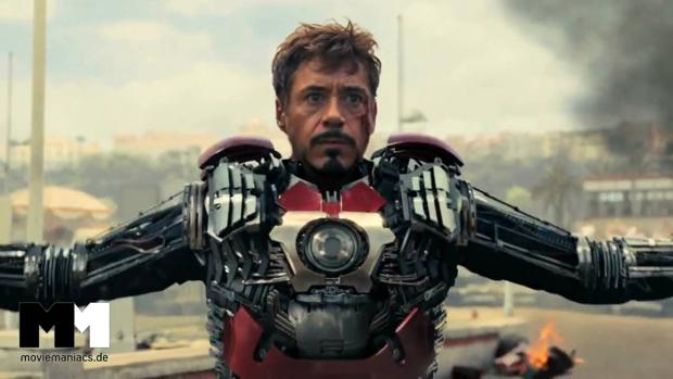 Robert Downey Jr con la armadura de «Iron Man»