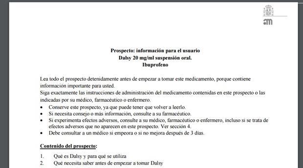 El medicamento para niños Dalsy omite en su prospecto algunos efectos secundarios, según Facua