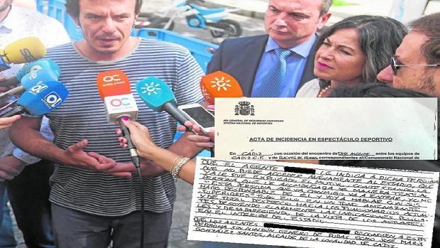 José María González ha dado su versión a los medios. Al lado, un extracto del informe policial que le acusa de amenazar y despreciar a los agentes.