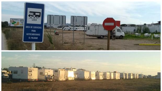 Más de 200 autocaravanas aparcan ilegalmente en El Palmar