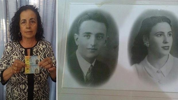 Sofía Benítez Cubero, junto a una foto de sus padres