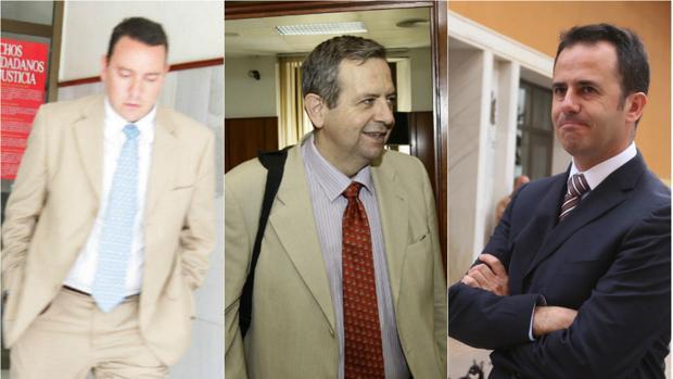 Fedriani, Osuna y García Gallardo, en varias de sus visitas a los juzgados por el 'caso Quality'