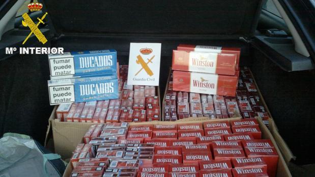 Cartones tabaco incautado por la Guardia Civil.