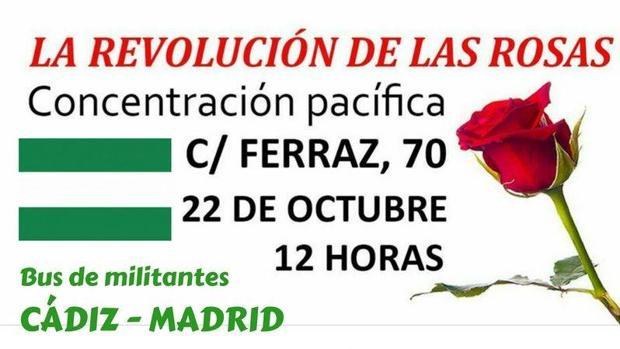 Parte del cartel que anuncia la concentración en Madrid el próximo domingo.