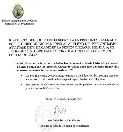 Carta enviada al grupo municipal del PP sobre los premios