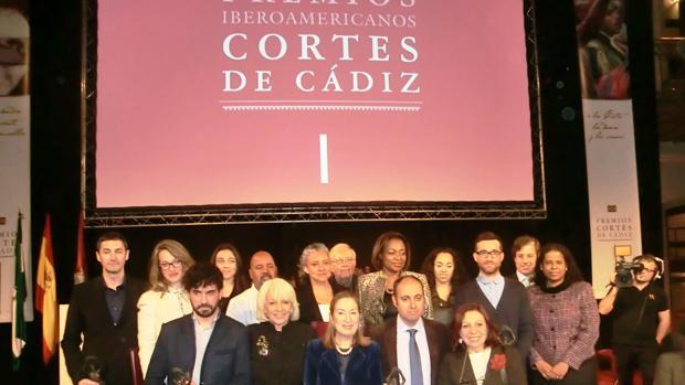Premiados y autoridades, durante el acto de entrega de los premios en la edición de 2013.