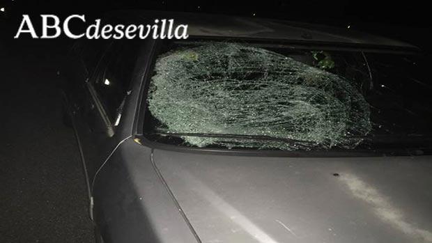 Estado en el que quedó la luna del vehículo tras el atropello