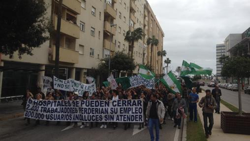 Protesta en la Avevnida de las Cortes