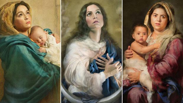 Varias de las creaciones de la fotógrafa sevillana Ángeles Mesa inspiradas en la obra de Murillo