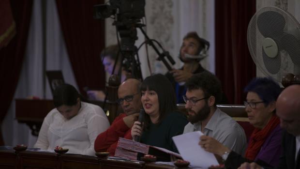 Ana Camelo (segunda por la derecha), recibió en la sesiónde ayer numerosos ataques de la oposición.