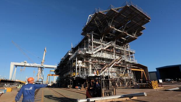 Plataforma para la subestación del complejo Wikinger construida en Puerto Real para Iberdrola