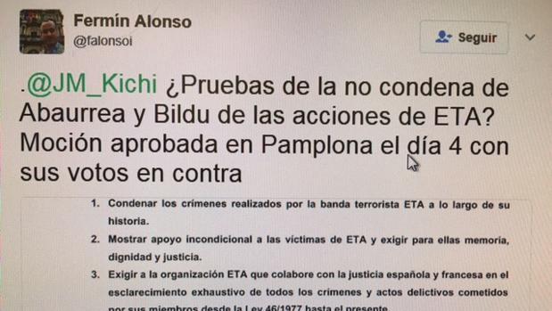 Un concejal de Pamplona demuestra que 'Kichi' miente sobre Abaurrea y su condena a ETA