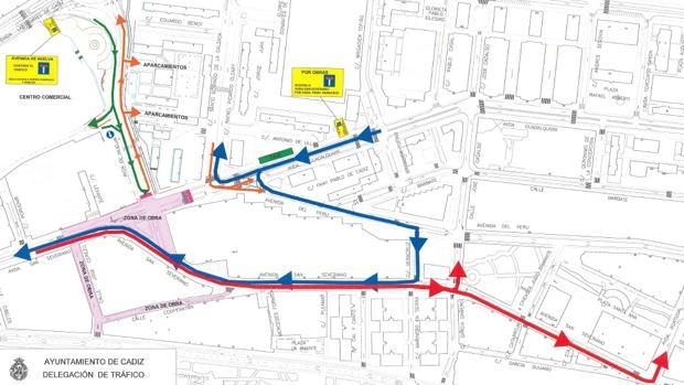 Atención: nuevos cortes de tráfico desde el jueves por las obras del antiguo cuartel de la Guardia Civil de Cádiz