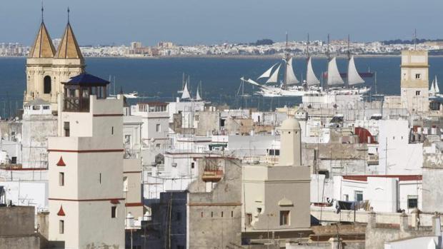 El casco histórico de Cádiz, desde las alturas