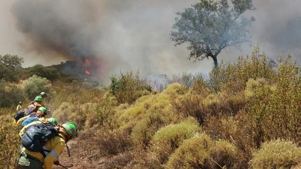 El incendio en El Castillo de las Guardas se ha extendido por el viento