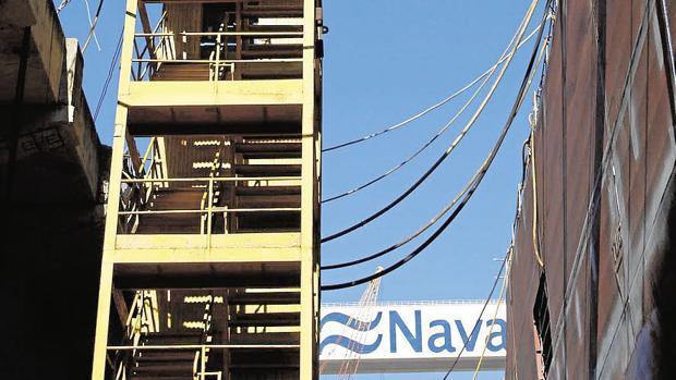 Andamio en Navantia, una de las principales empresas exportadoras.