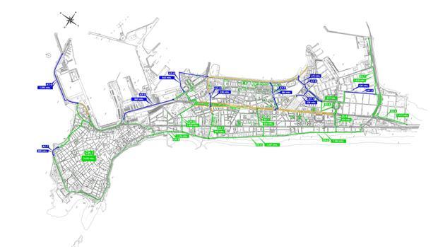 Mapa de carril bici. | La Asamblea Ciclista reivindica un carril bici en el Puente Carranza.