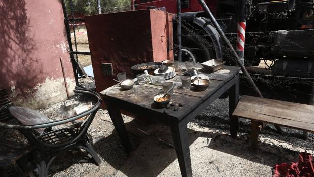 Imagen del escenario del suceso. Las víctimas se encontraban comiendo cuando se produjo la deflagración