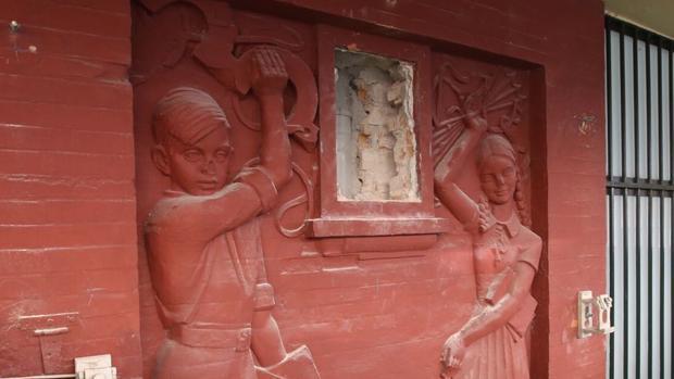 El escudo ha sido retirado del colegio Santa Teresa en el Campo del Sur