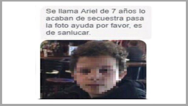 El falso secuestro de Ariel se está haciendo viral en WhatsApp.
