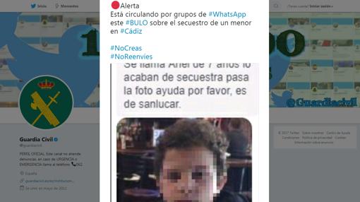 Tweet de la Guardia Civil advirtiendo del engaño.