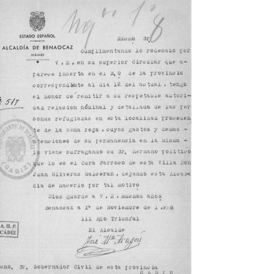 Carta enviado al Gobierno Civil por el alcalde de Benaocaz.