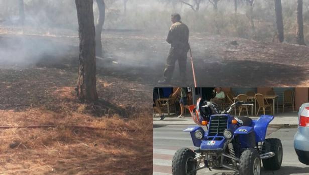Uno de los incendios que supuestamente provocó y el quad que usaba para moverse.