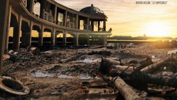Fotograma del documental 'La gran ola', en el que se indican las consecuencias de un maremoto en Cádiz.